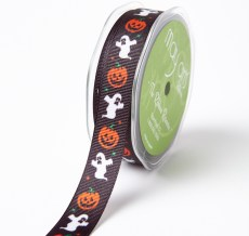 BLACK PUMPKIN/GHOST Grosgrain w/ Print Ribbon