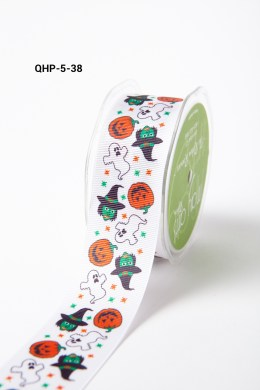 WHITE PUMPKIN / GHOST / WITCH Grosgrain w/ Print Ribbon