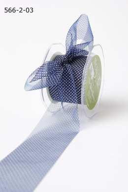 Navy/White Sheer Mini White Dot Ribbon