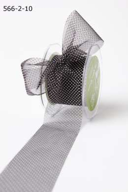 Black/White Sheer Mini White Dot Ribbon