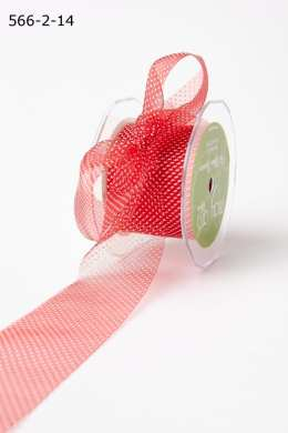 Red/White Sheer Mini White Dot Ribbon