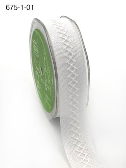 white diamond stitch canvas linen ribbon