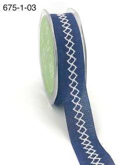 navy and white diamond stitch canvas linen ribbon