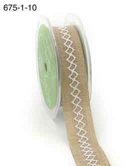 natural kraft and white diamond stitch canvas linen ribbon