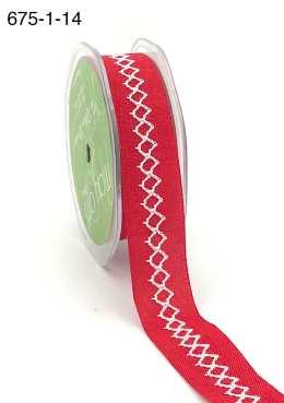 red and white diamond stitch canvas linen ribbon
