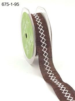 brown and white diamond stitch canvas linen ribbon