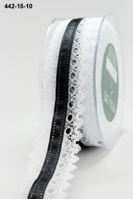 Variation #155208 of 1.5 Inch White Lace / Satin Center Ribbon