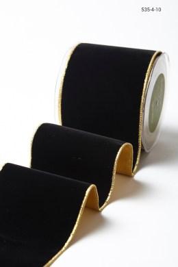 Variation #156031 of 4 Inch Velvet Ribbon With Gold Backing