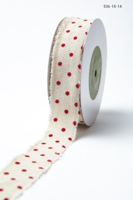 Variation #156010 of 1.5″ Natural Ribbon With Velvet Polka Dots