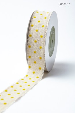 Variation #156011 of 1.5″ Natural Ribbon With Velvet Polka Dots