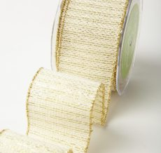 Variation #184638 of 2.5 Inch Wired Tweed Woven Metallic Ribbon