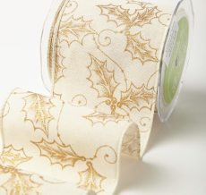 Variation #184661 of 4 Inch Wired Canvas w/ Gold Glitter Print Ribbon