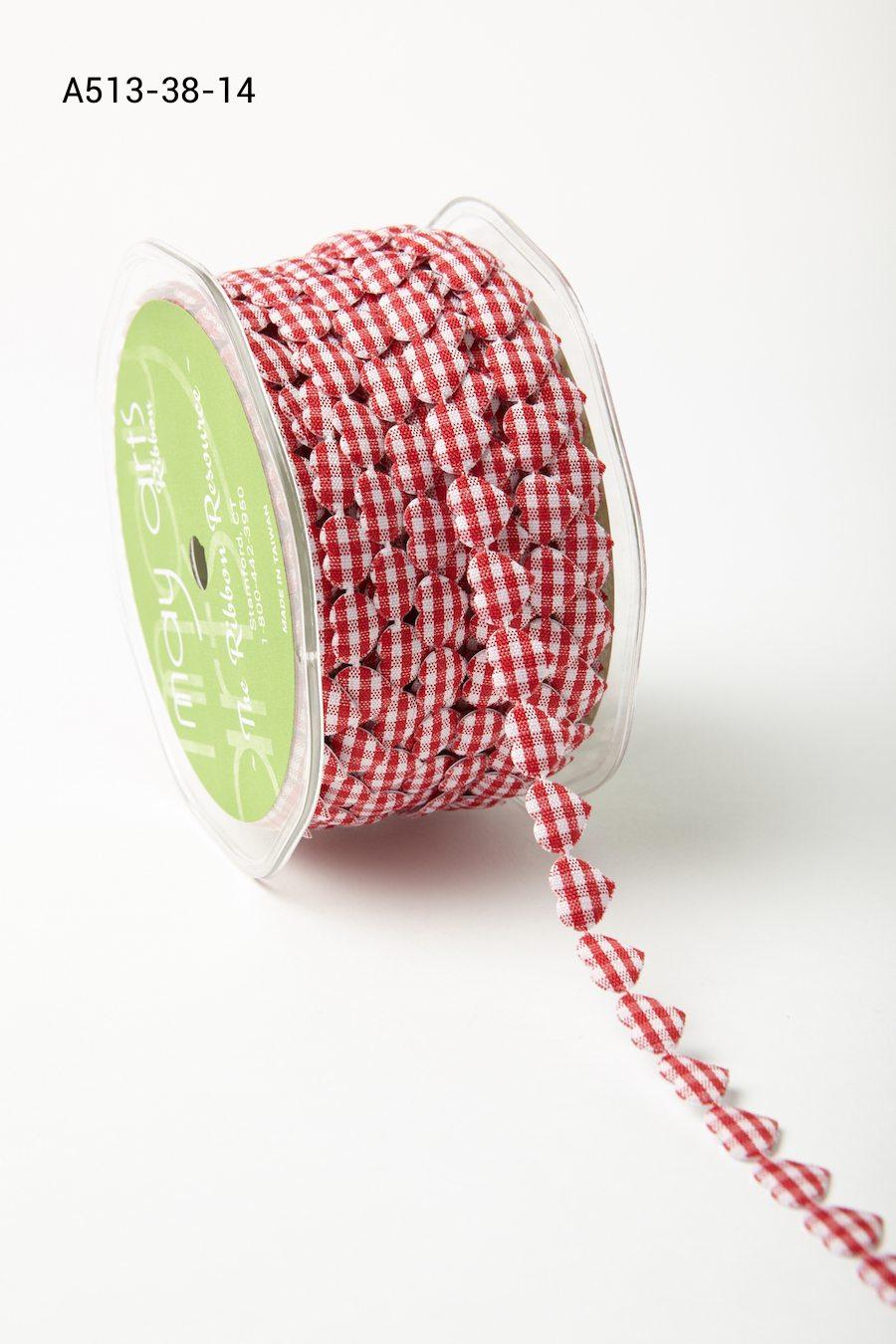 HL17-50 Yards 3//8 Inch Sheer Hearts Ribbon May Arts Pink Hearts