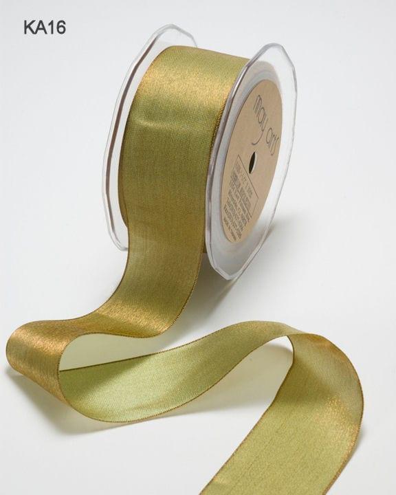 "5 yd. May Arts KA36 -Purple//Copper 1/"" woven iridescent ribbon"