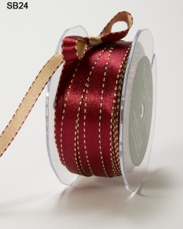 Variation #0 of 3/8 Inch Satin Reversible Ribbon w/ Stitched Edge
