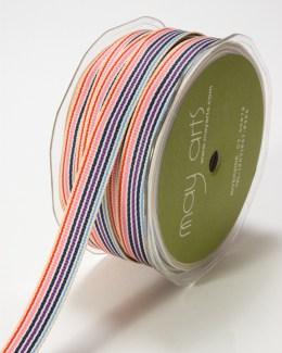 Pink,Lavender and Blue Grosgrain Variegated Stripes Ribbon