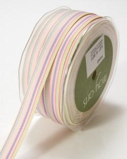 Pink,Lavender and Light Blue Grosgrain Variegated Stripes Ribbon