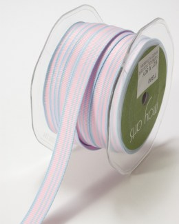 Pink and Blue Grosgrain Variegated Stripes Ribbon