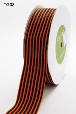 Black and Orange Grosgrain Variegated Stripes Ribbon