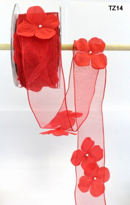 Red Flowers/Pearl Center/Wired Ribbon