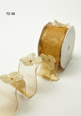 Gold Flowers/Pearl Center/Wired Ribbon