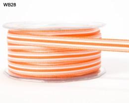 Orange and White Grosgrain Stripes Ribbon