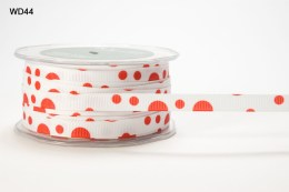 Red and White Grosgrain Bubble Dot Ribbon