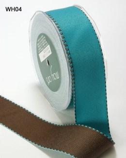 Turquiose and Brown Grosgrain Reversible Ribbon