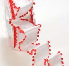 White and Red Solid / Pom Pom Edge (Wired) Ribbon