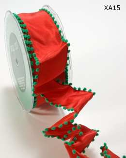 Red and Green Solid / Pom Pom Edge (Wired) Ribbon