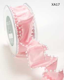 Light Pink Solid Pom Pom Edge (wired) Ribbon