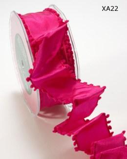 Fuchsia Solid / Pom Pom Edge (Wired) Ribbon