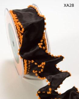 Black and Orange Solid Pom Pom Edge (wired) Ribbon
