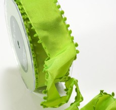 Parrot Green Solid Pom Pom Edge (wired) Ribbon