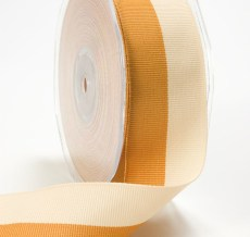 Antique Gold and Ivory Grosgrain Two Band Ribbon