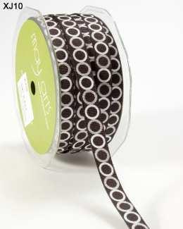 Black Silver and White Grosgrain Circles Ribbon