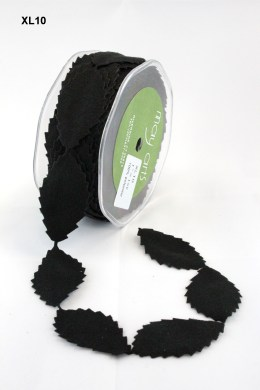 Black Faux Suede Leaves Ribbon
