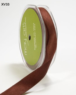Brown Double Faced Faux Suede Ribbon