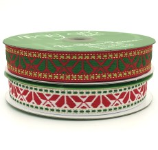 "1"" geo print woven Christmas ribbons"