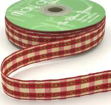 metallic gold red and green Christmas plaid ribbon