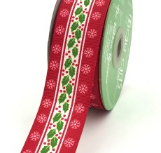 holly berry snowflake printed red grosgrain ribbon