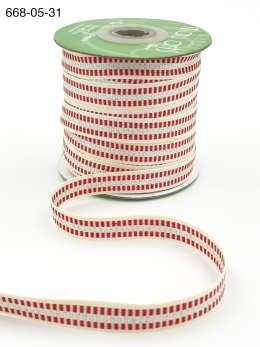 candy cane stripe metallic silver cotton ribbon