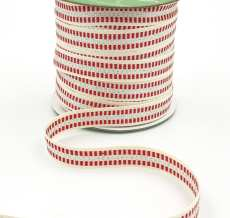 candy cane stripe metallic silver cotton ribbon