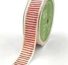 red paint stripe cotton ribbon