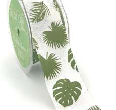 ivory tropical leaf banana leaf linen ribbon