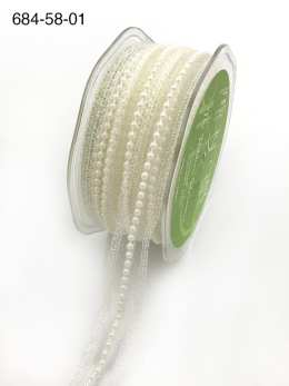 white pearl lace metallic ribbon