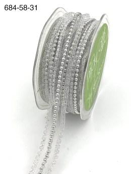 silver pearl lace metallic ribbon