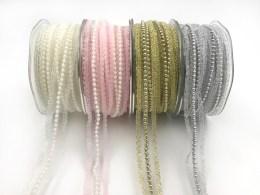 "5/8"" pearl lace metallic ribbons"