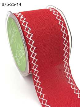 red linen stitched white diamond wide ribbon