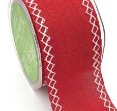 red linen stitched white diamond wide ribbon